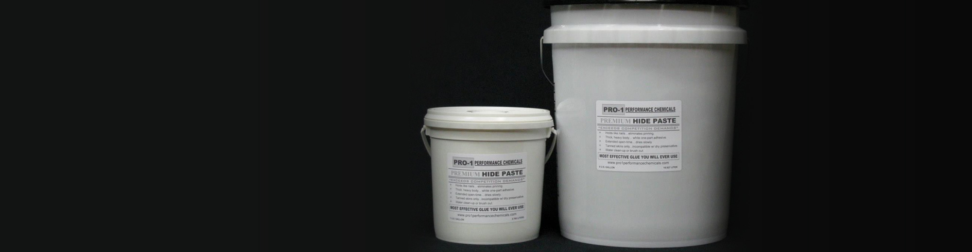 Small and large pails of Premium Hide Paste