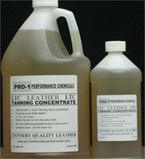 Jug and bottle of PRO-1 Leather Tanning Concentrate