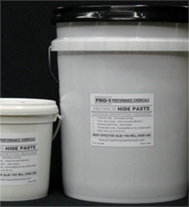 Small and large pails of PRO-1 Premium Hide Paste