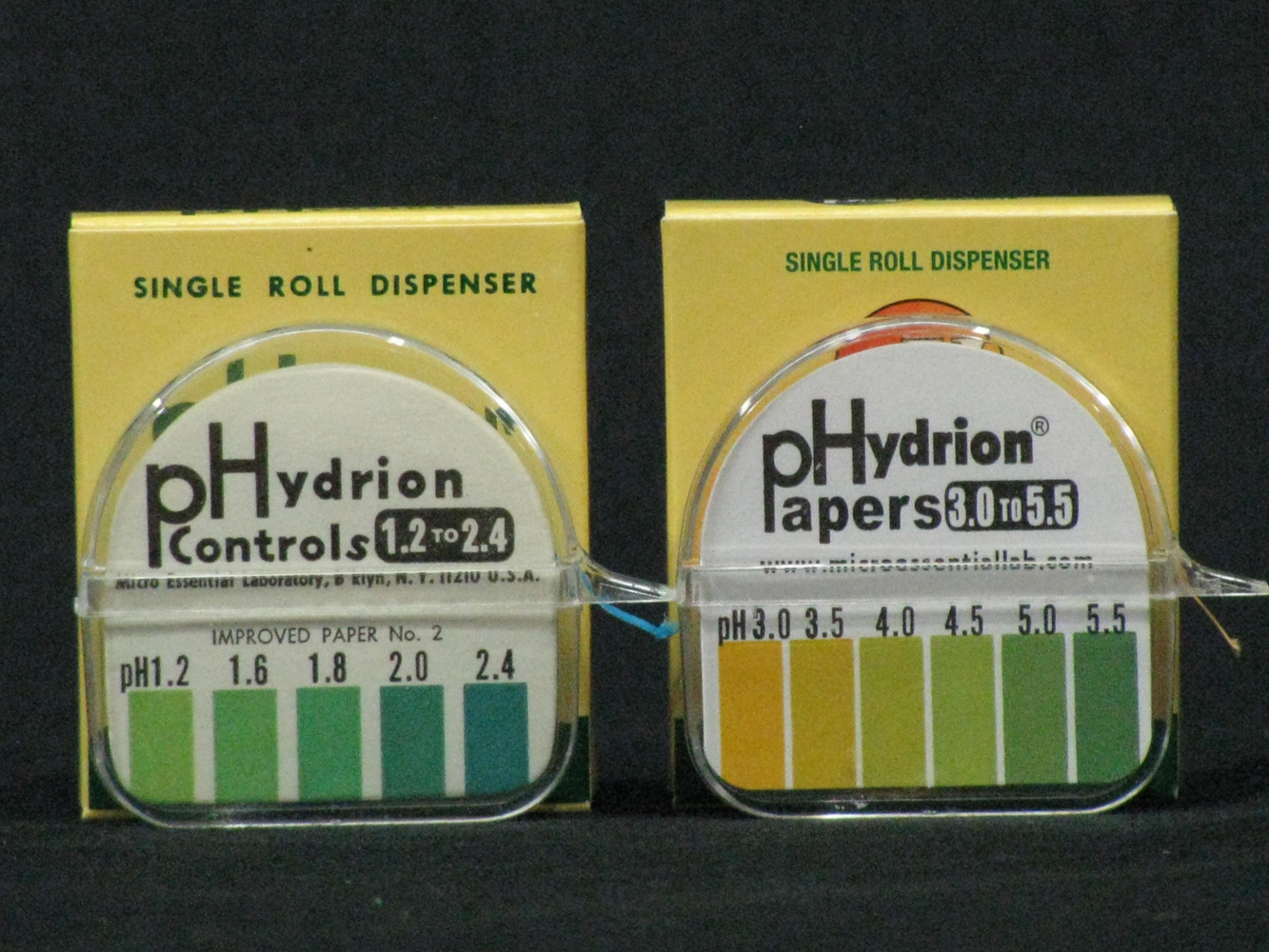 pH Paper ranges 1.2-2.4 and 3.0-5.5